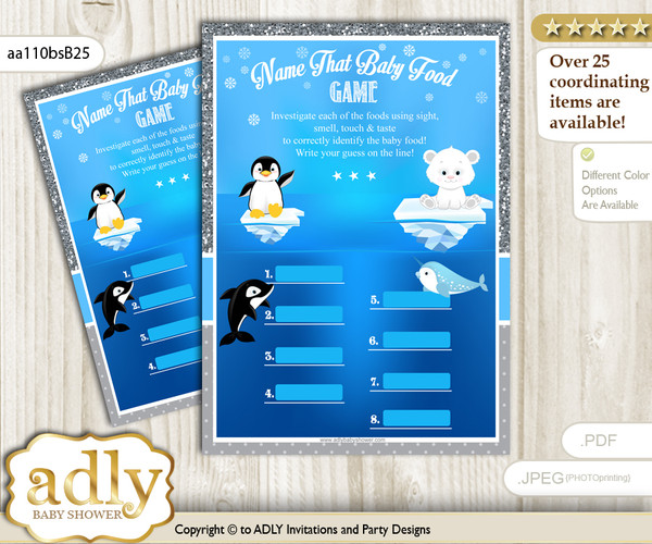 Boy Arctic Guess Baby Food Game or Name That Baby Food Game for a Baby Shower, Blue Silver Winter