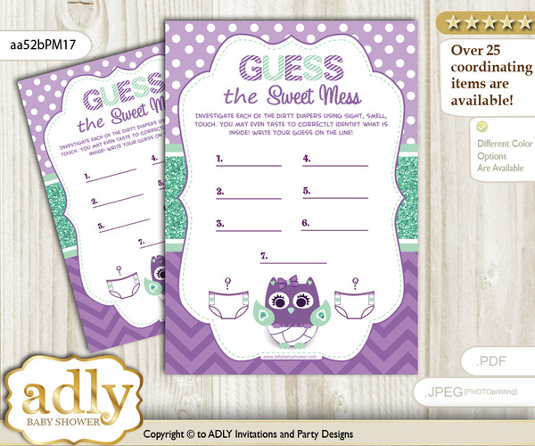 Girl Owl  Dirty Diaper Game or Guess Sweet Mess Game for a Baby Shower Purple Green, Mint