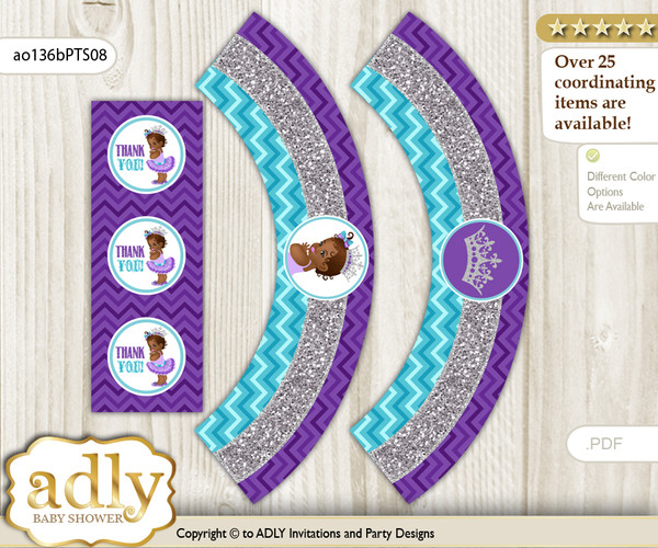 Printable African Princess Cupcake, Muffins Wrappers plus Thank You tags for Baby Shower Purple Teal, Silver