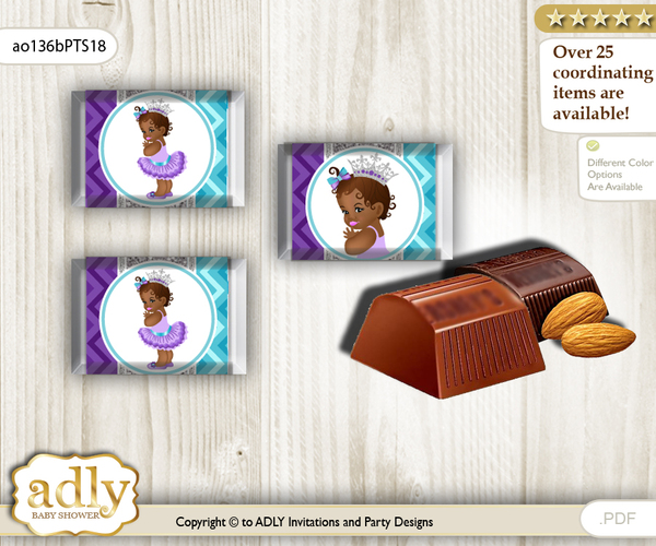 African Princess Chocolate Nuggets Candy Wrapper Label for Baby African Shower  Purple Teal , Silver