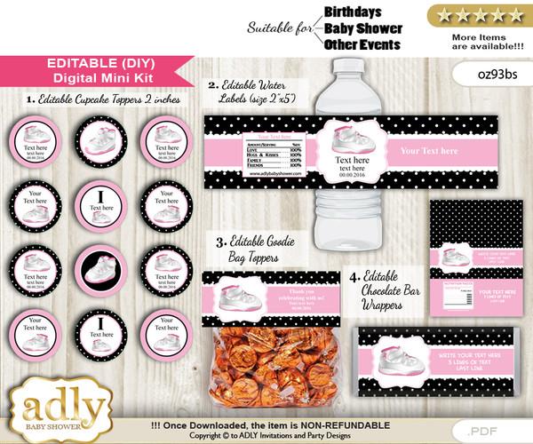 DIY Text Editable Girl Jumpman Baby Shower, Birthday digital package, kit-cupcake, goodie bag toppers, water labels, chocolate bar wrappers