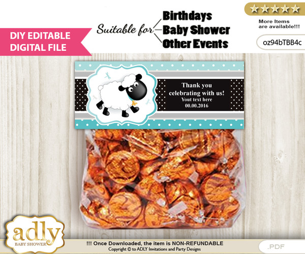 DIY Text Editable Boy Lamb Goodie  Treat Bag Toppers, Favor Bag Digital File, print at home n