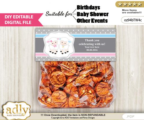 DIY Text Editable Twins Lamb Goodie  Treat Bag Toppers, Favor Bag Digital File, print at home  h