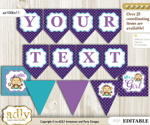 DIY Personalizable Girl Monkey Printable Banner for Baby Shower, Purple Teal, Polka