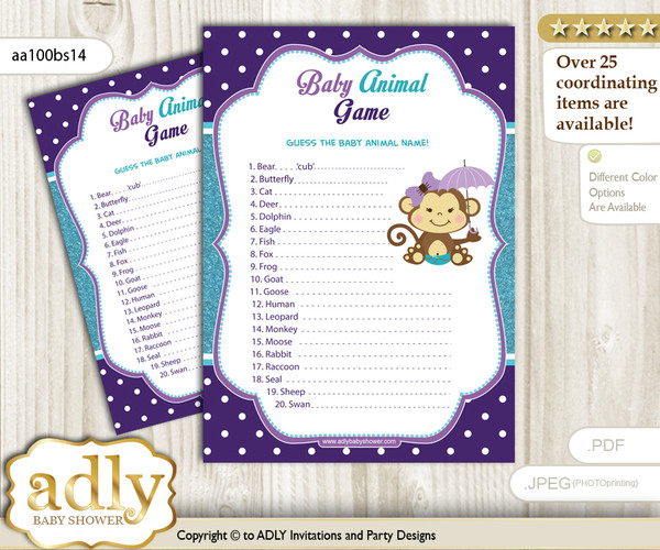 Printable Girl Monkey Baby Animal Game, Guess Names of Baby Animals Printable for Baby Monkey Shower, Purple Teal, Polka