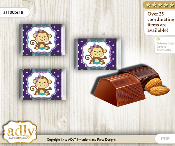 Girl Monkey Chocolate Nuggets Candy Wrapper Label for Baby Girl Shower  Purple Teal , Polka