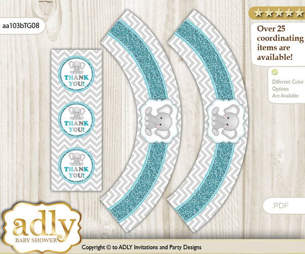 Printable Peanut Unisex Cupcake, Muffins Wrappers plus Thank You tags for Baby Shower Teal Gray, Chevron