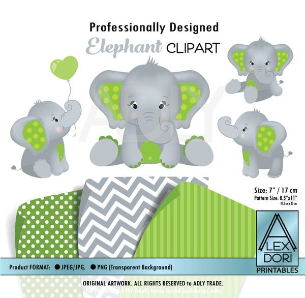 Green and Gray Baby Elephants Peanut Balloon Clipart