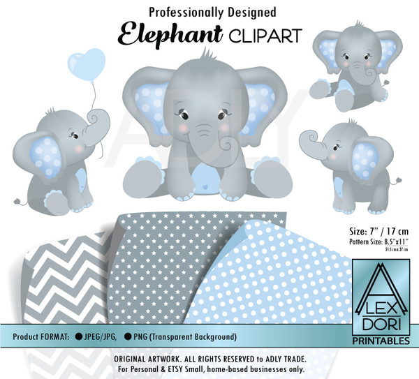 Baby Blue and Baby Elephants Peanut Balloon Clipart