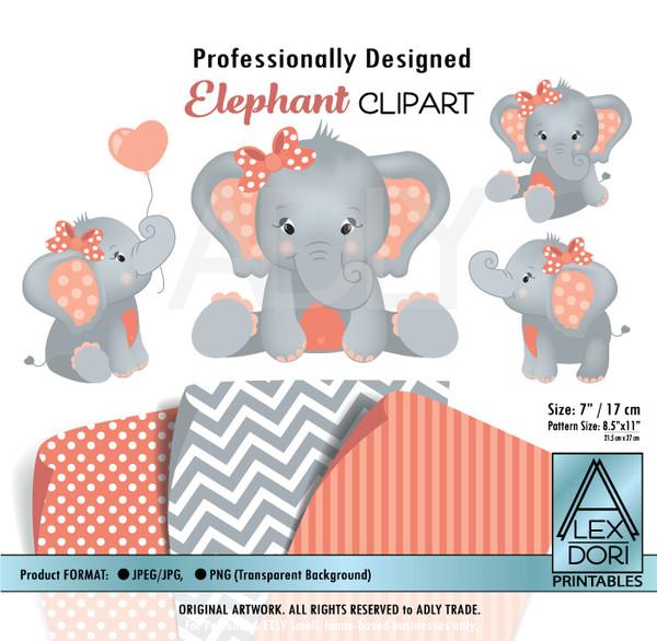Coral and Gray Baby Elephants Peanut Balloon Clipart