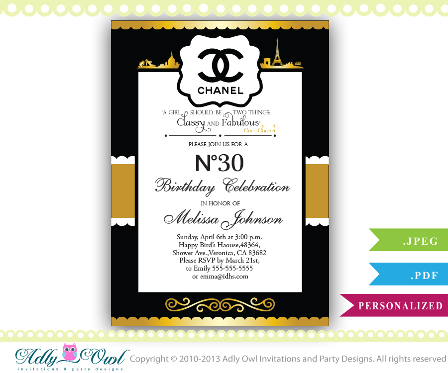Personalized chanel birthday party celebration invite for any age personalized chanel birthday party celebration invite for any age 203040 filmwisefo