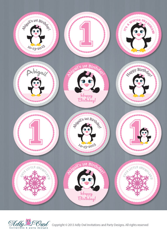 Personalized First Birthday Cupcake ToppersFavor Tags Girl 1st
