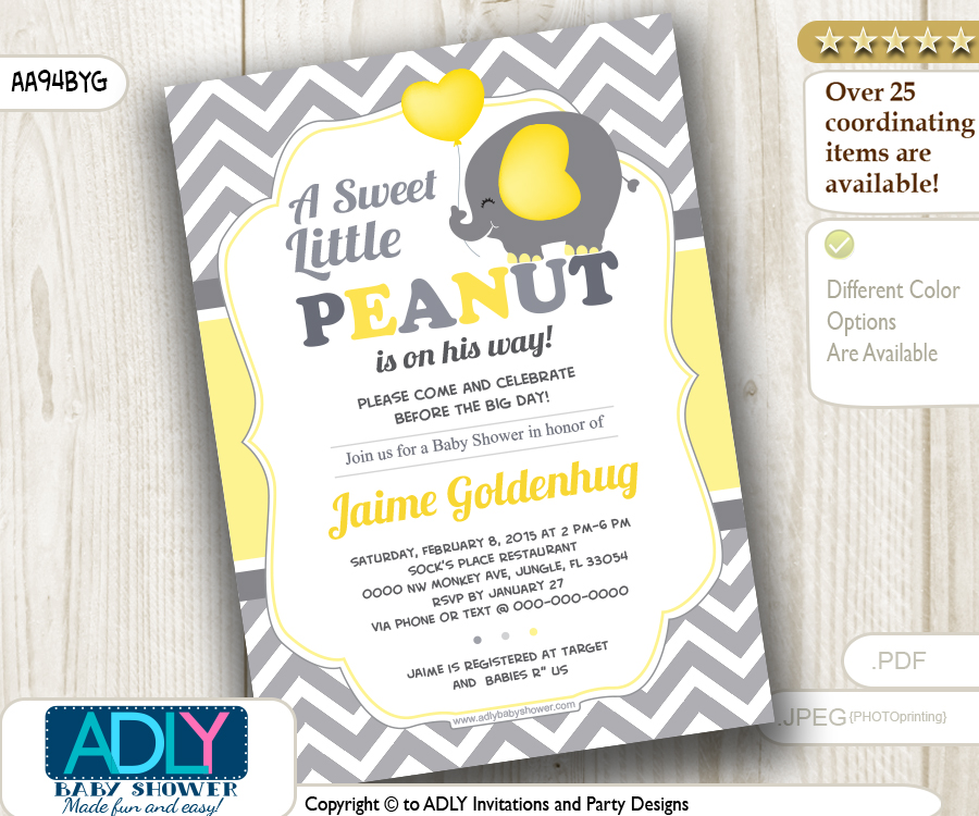 Yellow grey boy elephant invitation with chevron pattern adly yellow grey boy elephant invitation with chevron pattern adly invitations and digital party designs filmwisefo