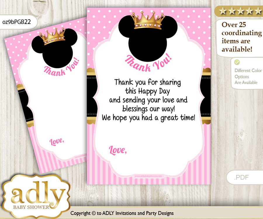 minnie mouse thank you cards for a baby minnie shower or birthday