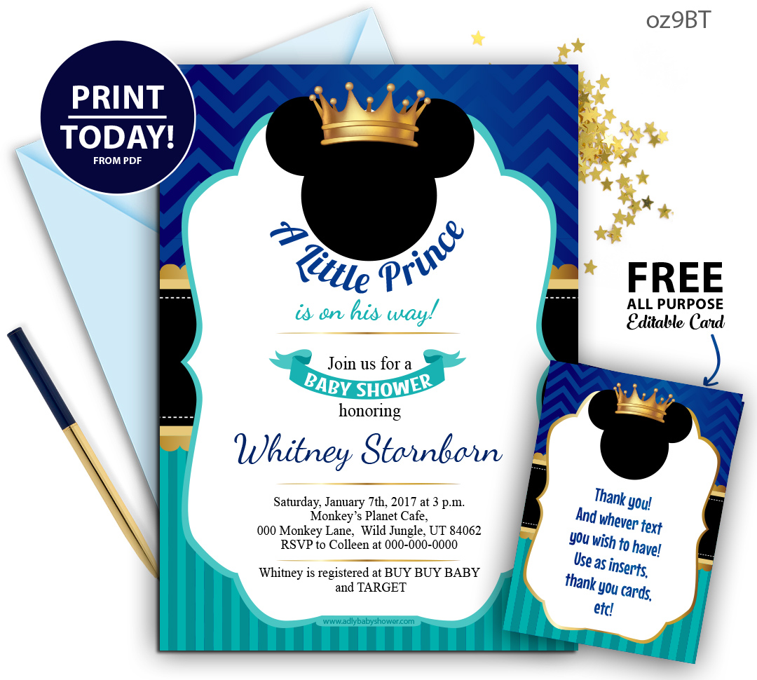 Royal-Prince Mickey Baby shower Blue and Turqoiuse invitation, Crown ...