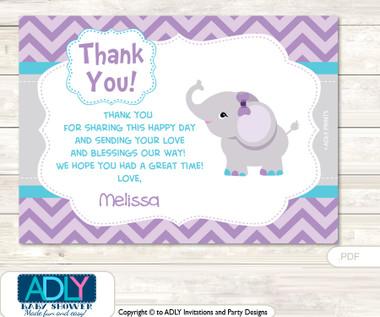 Purple Elephant Thank you Printable Card with Name ...