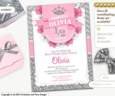 Half way to one 12 birthday invitation for little princess in pink half way to one 12 birthday invitation for little princess in pink and silver glitter adly invitations and digital party designs filmwisefo