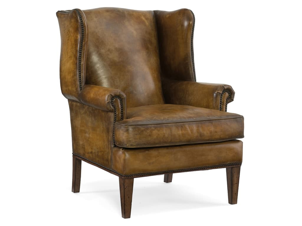 Hooker-CC408 Brown Leather Wing Back Chair