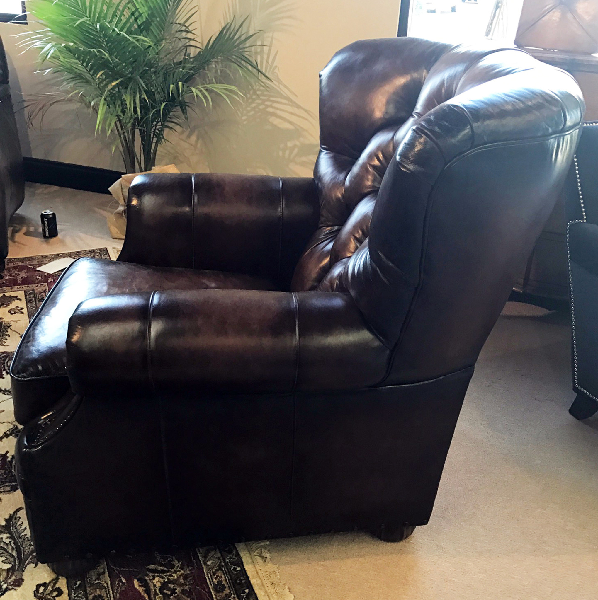 Sectional Sofa Sale Birmingham Al: Birmingham Barrel Tufted Leather Chair ,American Heritage
