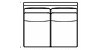armless loveseat line drawing