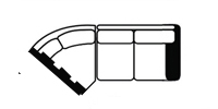 raf loveseat wedge line drawing