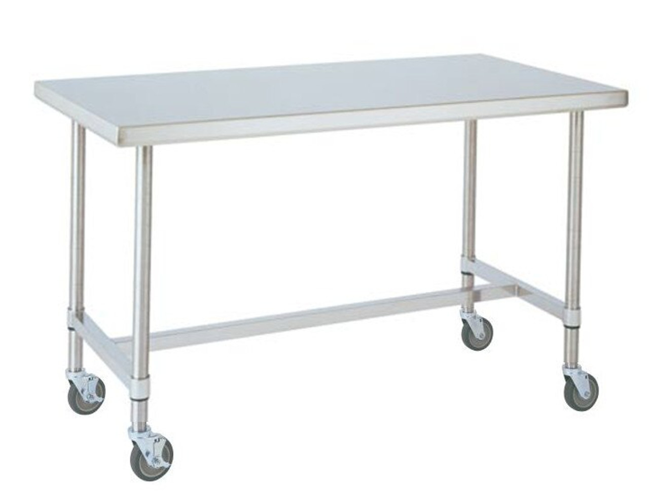 MWTHS Mobile Stainless Table DxWxH With HFrame - Stainless steel work table with casters