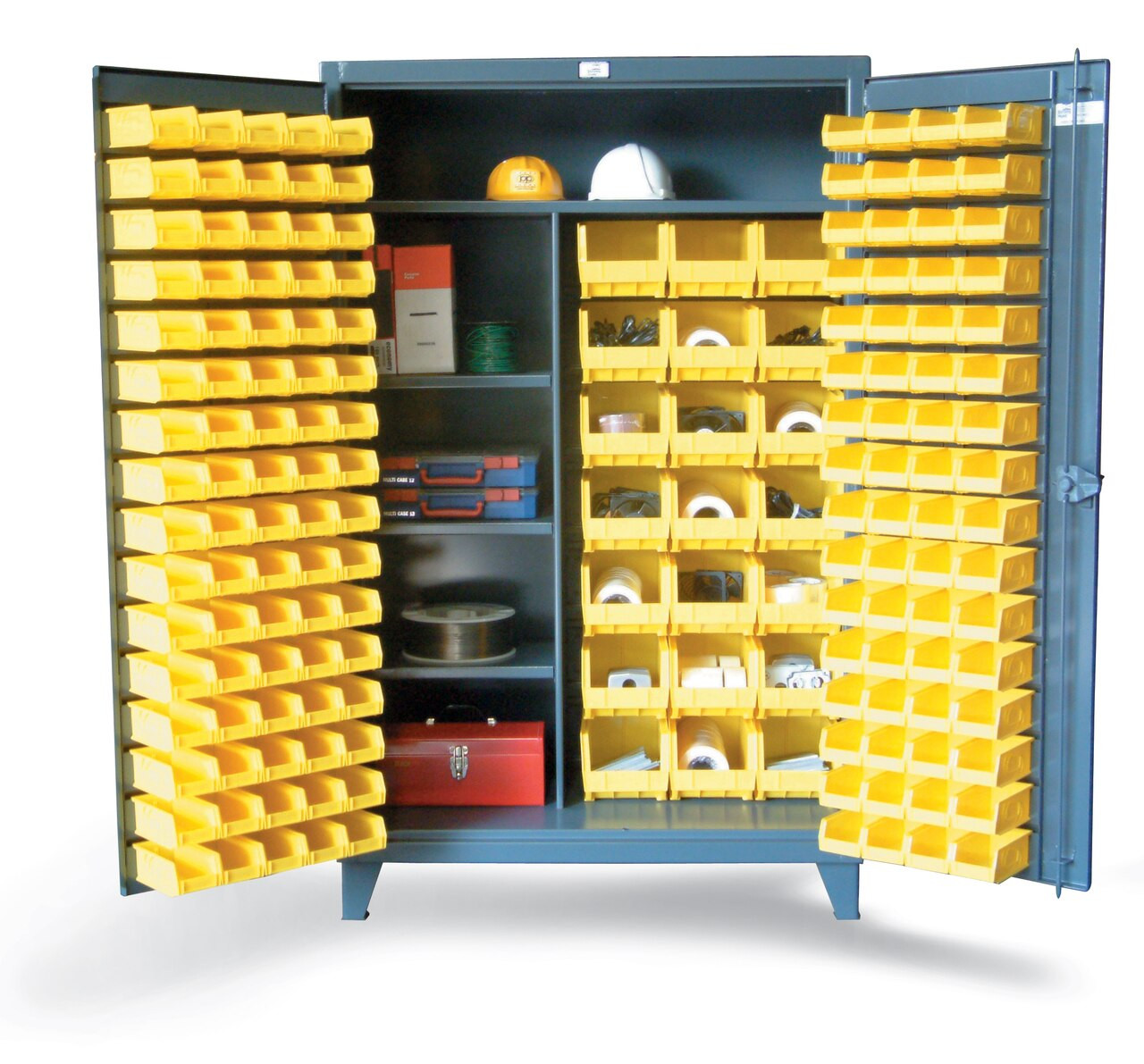 46-BSCW-241-3WLR Bin Storage Cabinet with Half-Width Shelves 48  sc 1 st  Industrial Shelving Systems & 46-BSCW-241-3WLR Bin Storage Cabinet with Half-Width Shelves 48