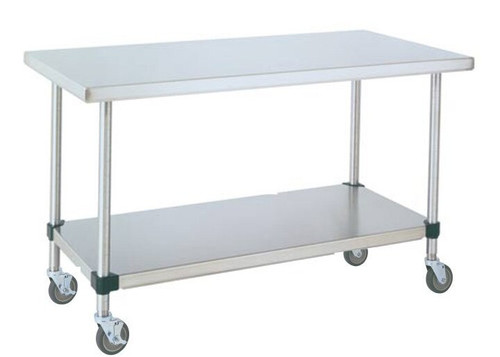 MWTFS Mobile Stainless Table DxWxH With SS Shelf - Stainless steel work table with wheels