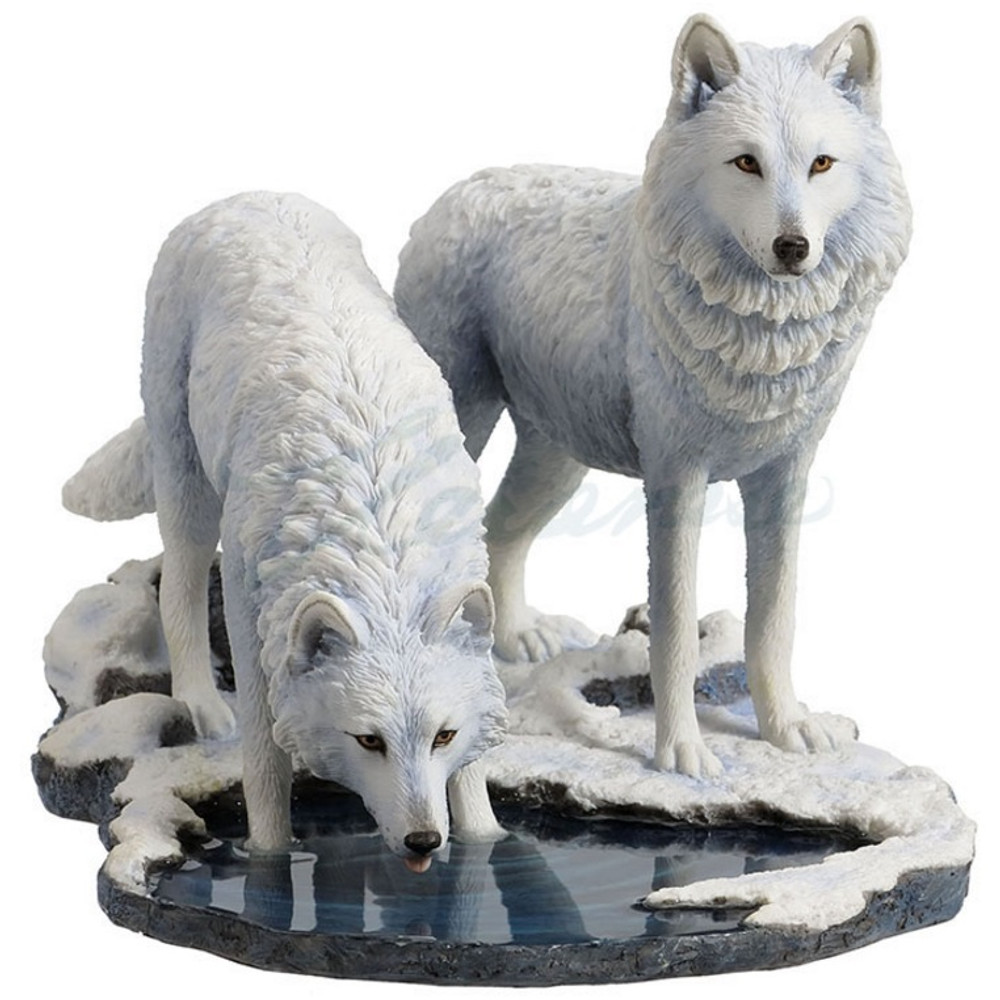Wolf sculpture white figurine winter warriors