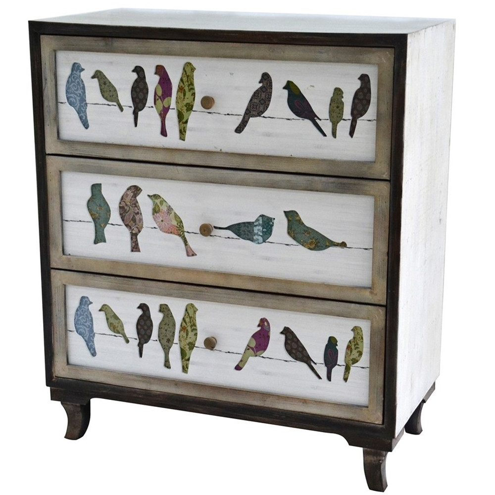 Birds on a Wire 3 Drawer Painted Chest | Crestview