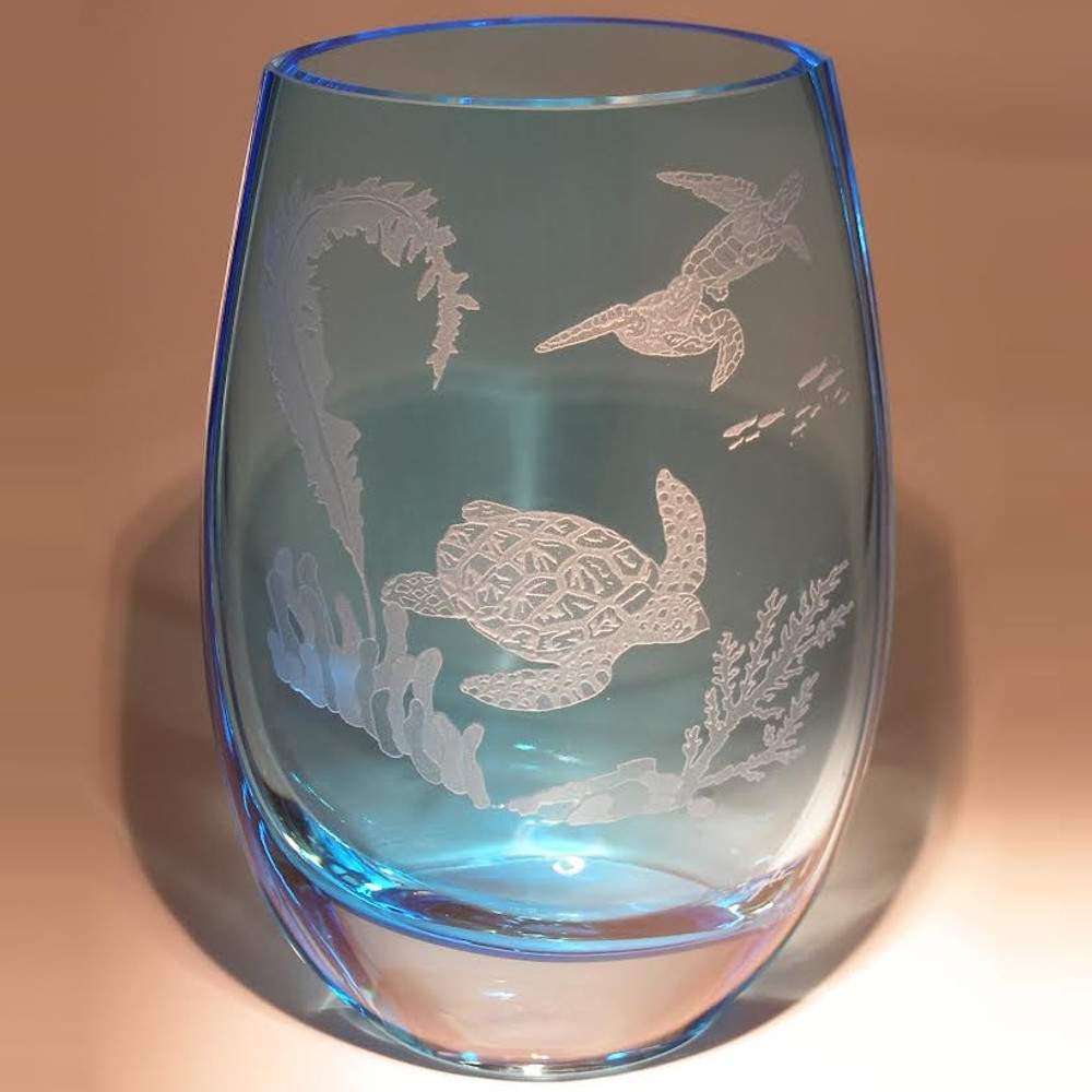 Sea Turtle Scene Vase Etched Crystal Evergreen Crystal