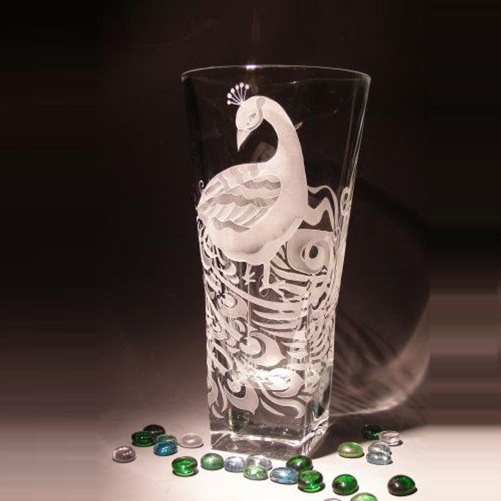 Peacock Vase Etched Crystal Peacock Vase Evergreen Crystal