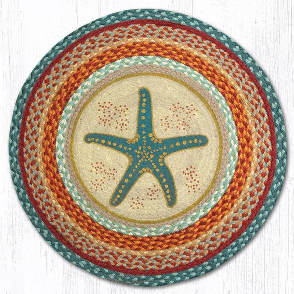Starfish Round Braided Rug