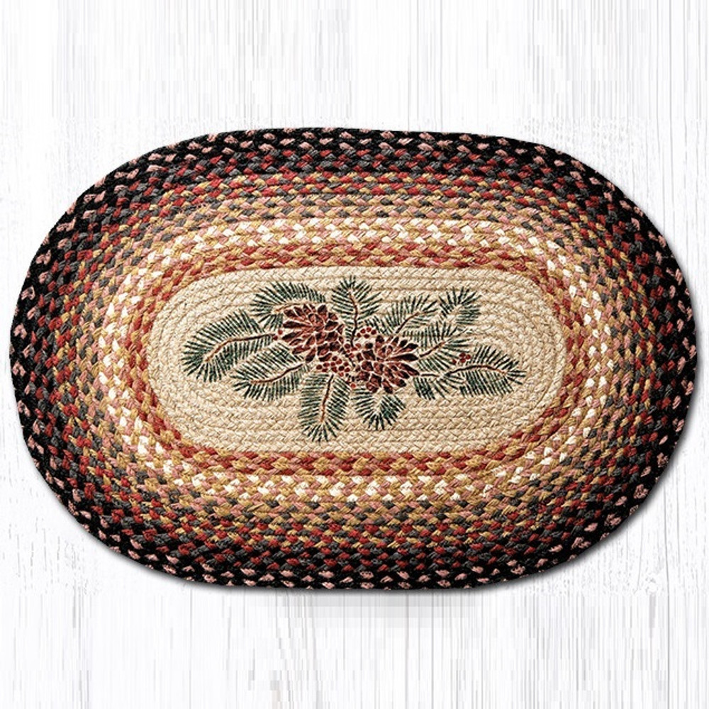 Pinecone And Red Berries Oval Braided Rug Capitol Earth