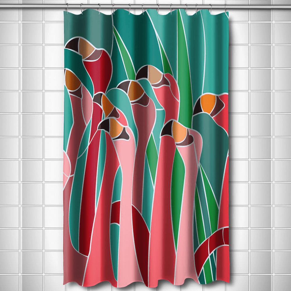 Flamingo Walk Shower Curtain | Island Girl Home Flamingo Walk Shower ...