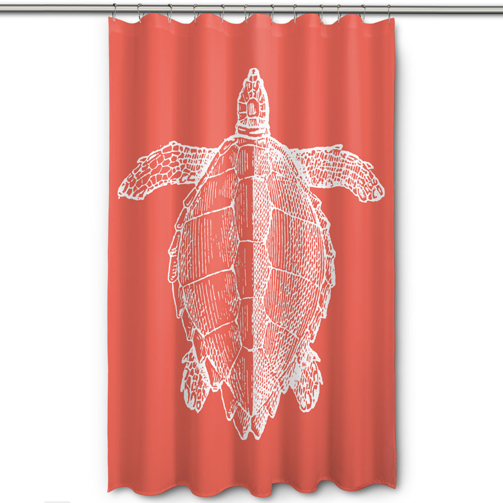 Sea Turtle Shower Curtain Vintage Coral