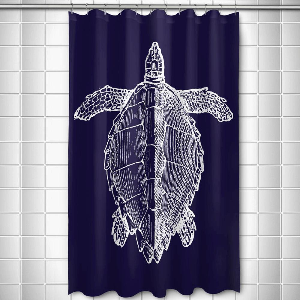 Sea Turtle Shower Curtain Vintage Navy | Island Girl Home | SC165 ...