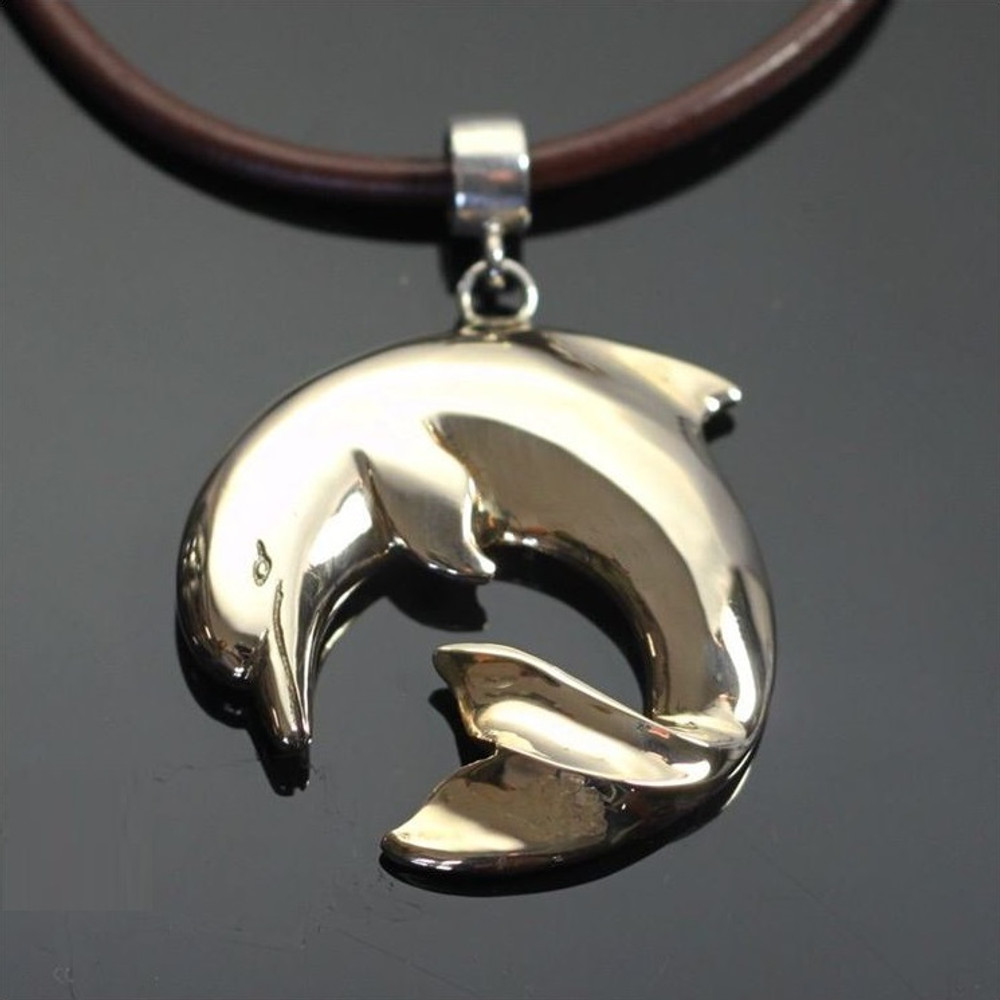 and koa sterling hawaiian products blue wave dolphin silver wood pendant image
