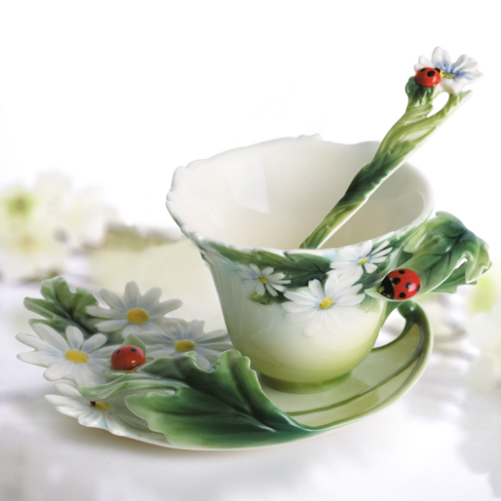 Superior Ladybug Cup Saucer Spoon Set | Franz Porcelain | Fz00034 ...