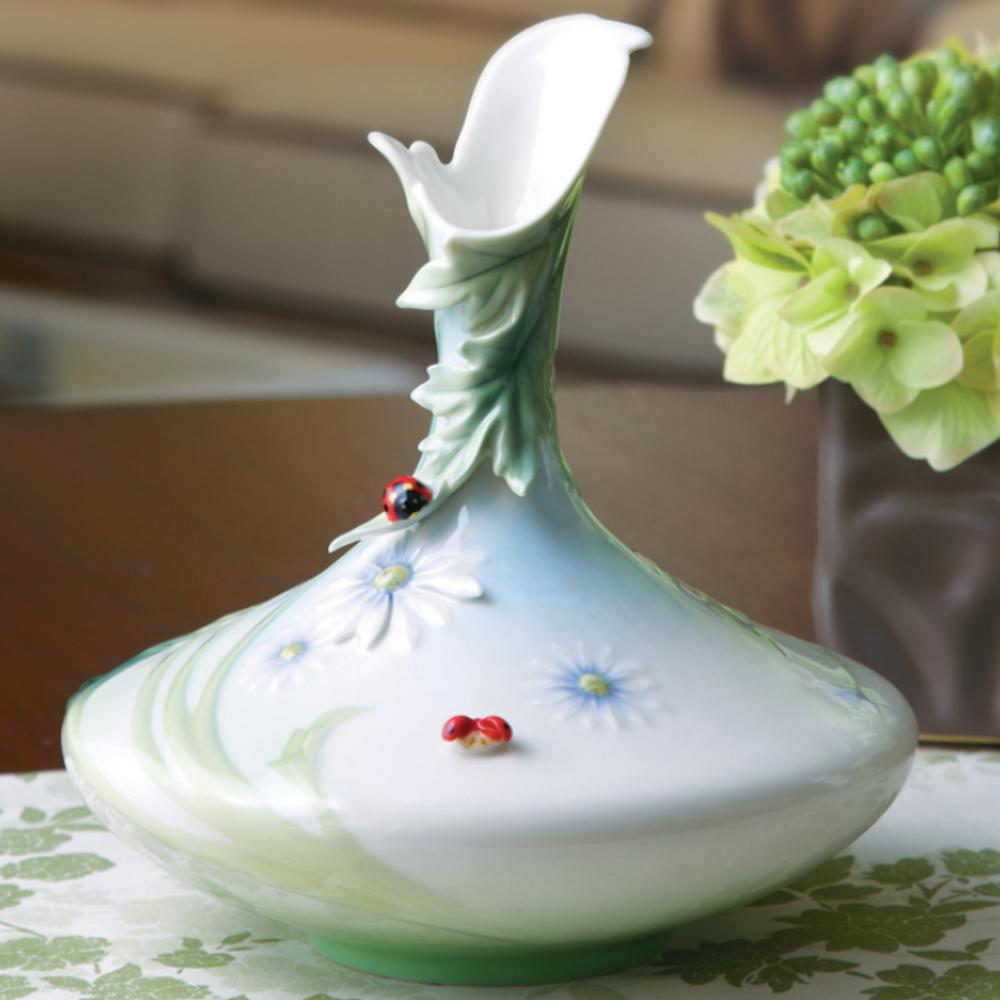 Ladybug Vase Franz Collection Porcelain