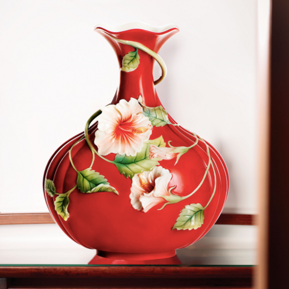 Hibiscus Vase Island Beauty Collection Franz Porcelain