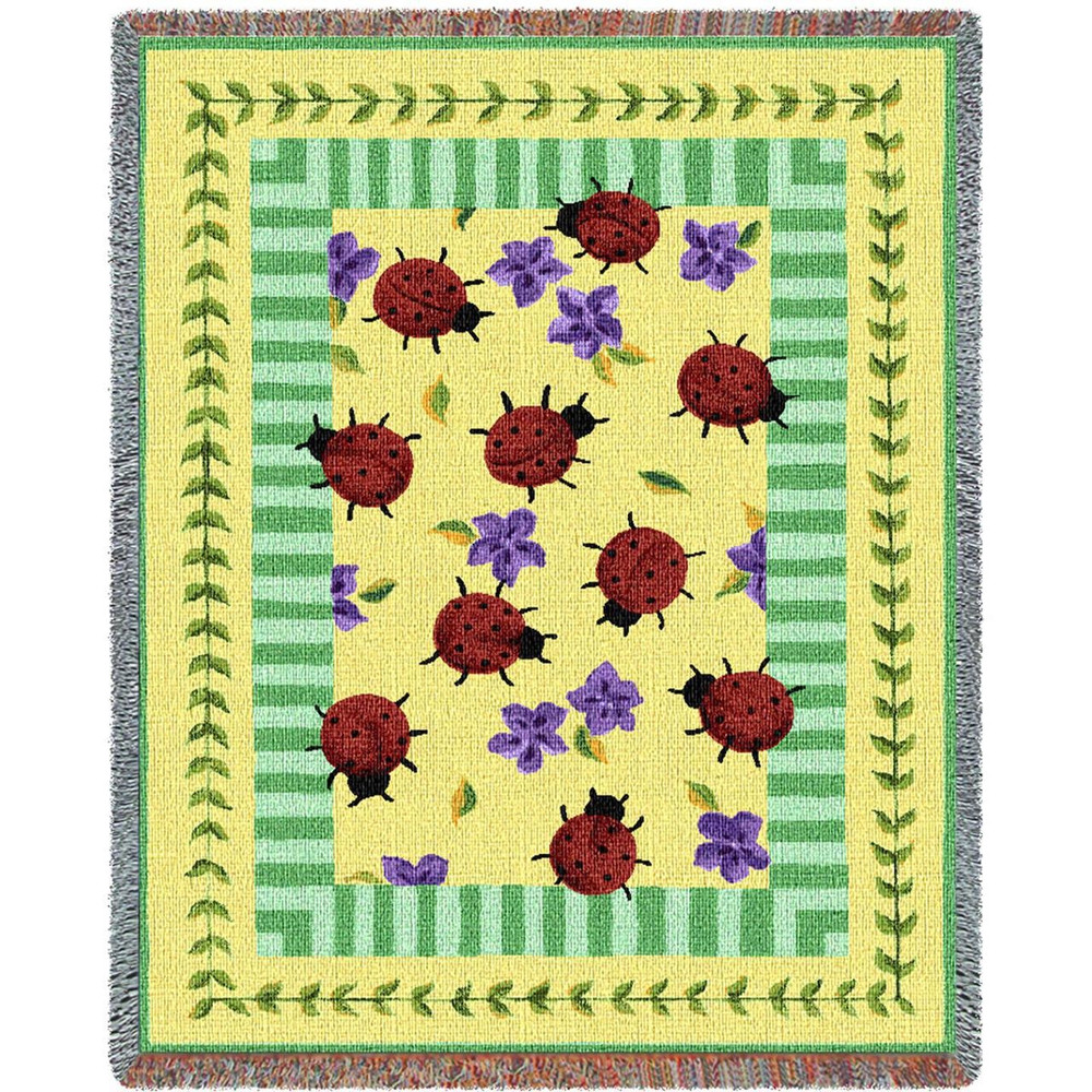 Gentil Ladybug Garden Tapestry Throw Blanket