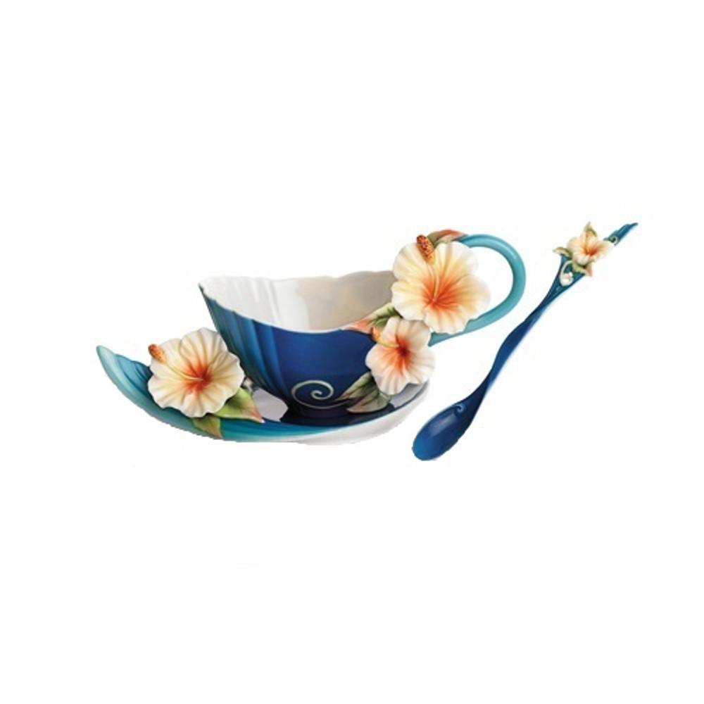 Hibiscus Cup Saucer Spoon Set Franz Collection Porcelain