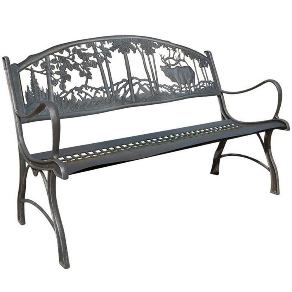 Superieur Elk Cast Iron Garden Bench | Painted Sky | PSPB IEK 100BR