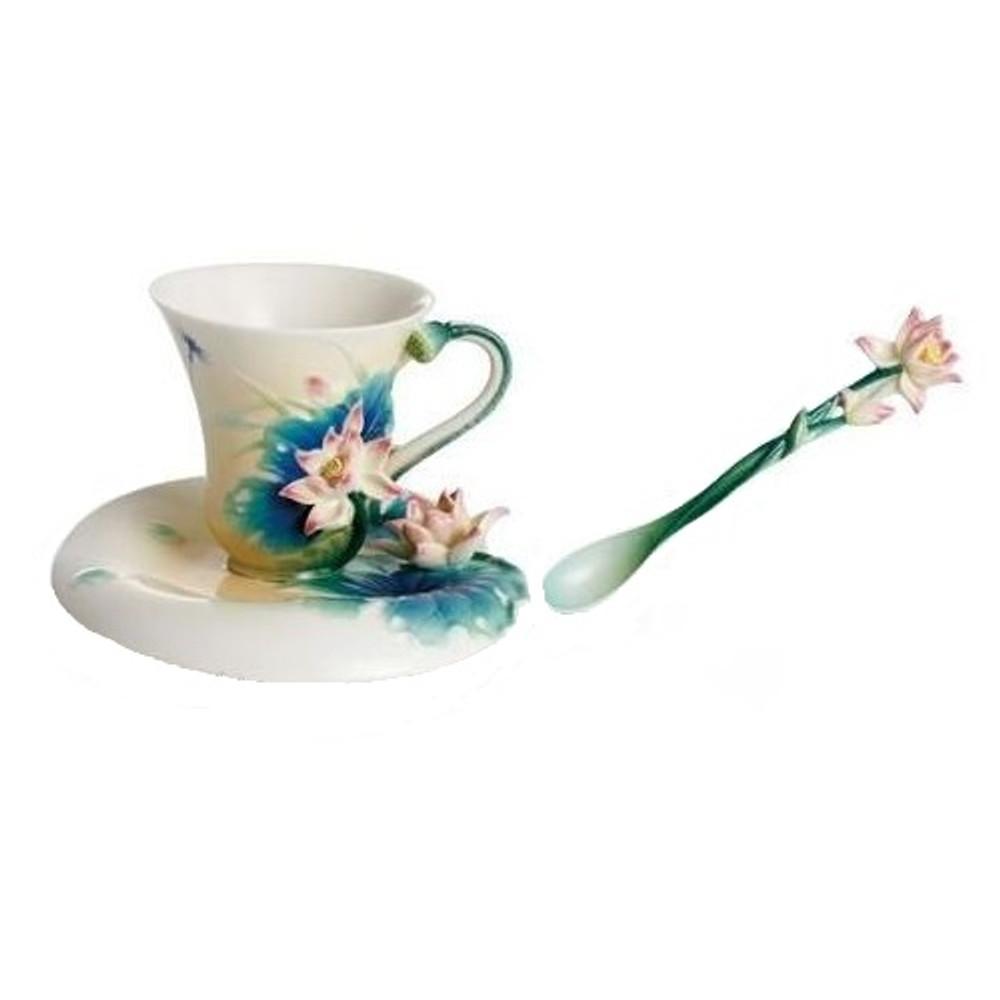 Lotus Cup Saucer Spoon Set Franz Collection Porcelain