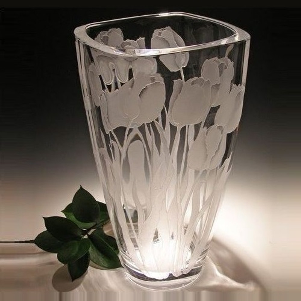 Tulip Vase Etched Crystal Evergreen Crystal