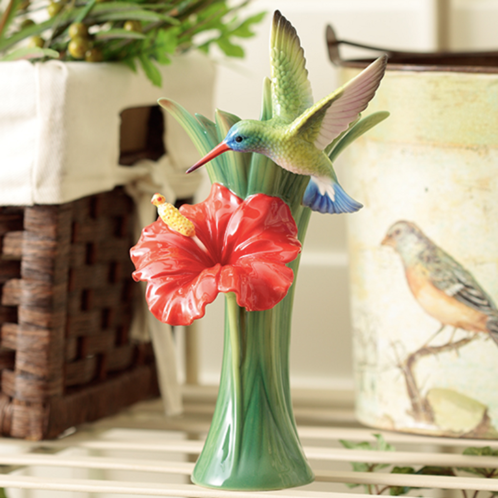 Hummingbird Vase Hibiscus Porcelain Franz