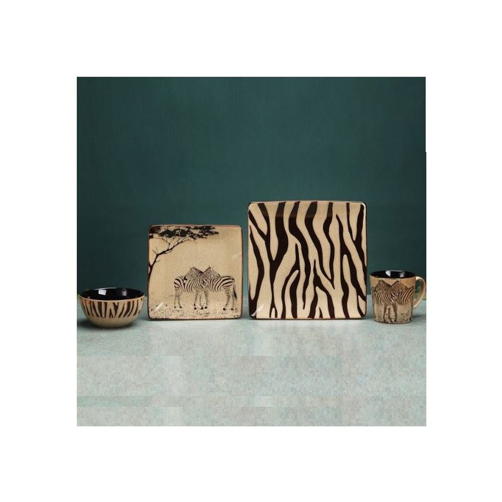 Zebra Dinnerware 4 Piece Place Setting | Unison Gifts | UGITCDZebra-1 ...  sc 1 st  Wildlife Wonders & Zebra Dinnerware | Place Setting | 4 Piece | Safari Collection