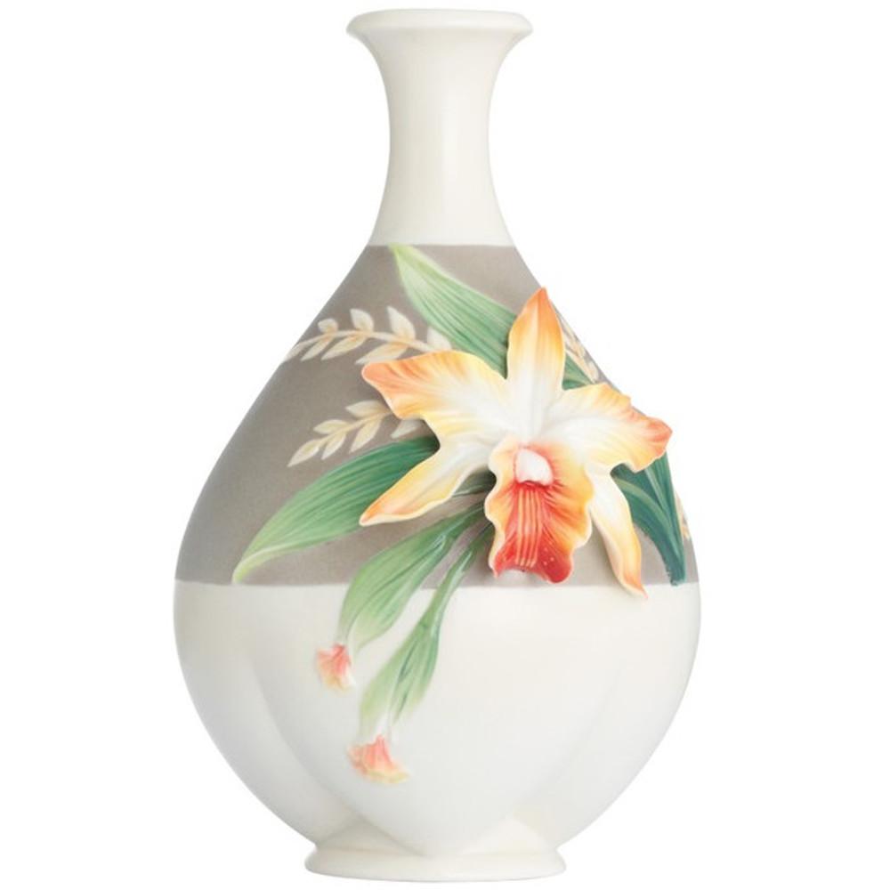 Cattleya Orchid Vase Franz Collection Porcelain