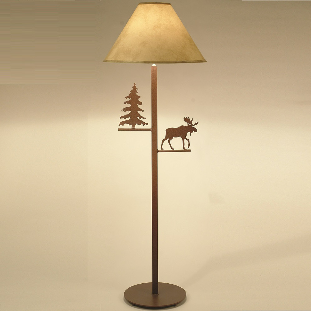 Moose floor lamp pine tree lighting decor furnishing moose pine tree floor lamp colorado dallas cdfl1013sh2158 aloadofball Image collections